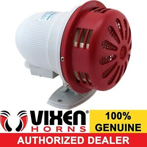 Electric Motor Driven Air Raid Siren Alarm Car Truck Rv 12v Gray Red Vxs 9080scl