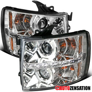 For 2007 2014 Chevy Silverado Clear Lens Led U Halo Rims Projector Headlights