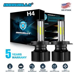 2x H4 9003 Led Headlight Bulb 2200w 330000lm Hi lo Car Motorcycle Headlight Hid