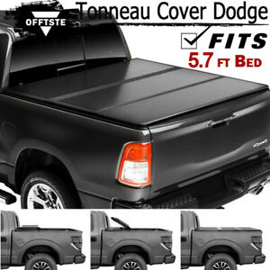 For 09 19 Dodge Ram 1500 5 7ft Short Bed Hard Trifold Solid Fold Tonneau Cover