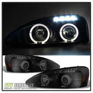 Black Smoke 2004 2008 Pontiac Grand Prix Led Halo Projector Headlights Headlamps