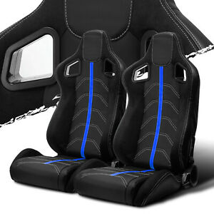Black Pvc Leather blue Strip white Stitch Left right Recaro Style Racing Seats