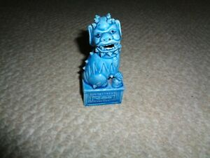 Small Chinese Foo Dog Standing Rectagnel Base Turquoise Glaze Open Mouth