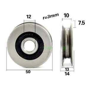 12mm Bore Bearing With 50mm Steel Wire cable Track Pulley 12x50x13mm