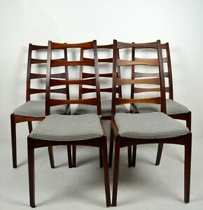 A Set Of 5 Vintage Mid Century Modern Walnut Ladderback Type Dining Chairs 1960s