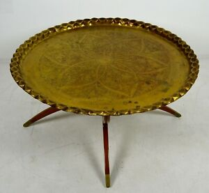 A Vintage Mid Century Round Brass Tray Top Table Spider Leg Base Boho Tiki 1960s