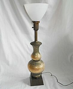 Persian Style Lamp Vintage Brass Torchiere Enamel Hollywood Regency Green Gold