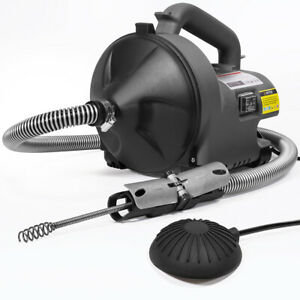 1000w Drain Auger Machine Snake Sink Clog Cleaner 30 ft Autofeed Foot Switch