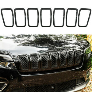 7pc Gloss Black Front Grille Rings Grill Inserts Cover For 2019 Jeep Cherokee
