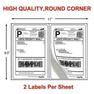 200 1000 Half Sheet 8 5x5 5 Shipping Labels 2 sheet Self Adhesive Round Corner