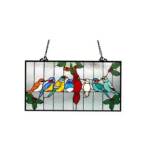 Singing Birds Tiffany Style Stained Glass Window Panel Last One This Price