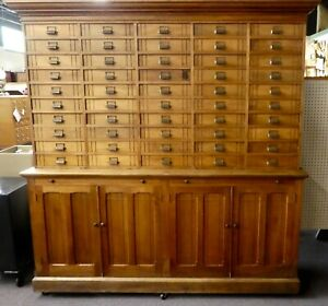 Antique Store Display Cabinet 50 Drawers 4 Shelves 2 Work Boards 79 5 Hx78 W