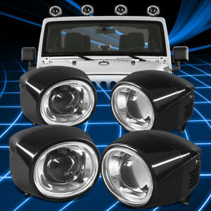 4pcs Universal Suv Truck Off road Fog Light Projector Driving Lamps Replacement