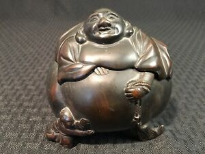 Antique Chinese Japanese Happy Laughing Buddha Bronze Censer Bowl Statue