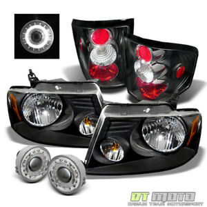 Black Fits 06 08 Ford F150 F 150 Headlights Lamps tail Lamps halo Fog Lights