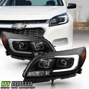 2013 2015 Chevy Malibu Black Led Tube Halogen Projector Headlights Headlamps Set