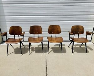 Vintage Mid Century Modern Brunswick Bent Plywood Lounge Arm Chair Lot Of 4