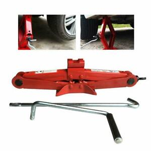 2 Ton Scissor Wind Up Jack Chromed Low Profile Crank Handle Lift Stand Truck Suv