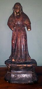 Filipino Colonial Hand Carved Wood Statue Of Mary 11 Figure On 4 Base