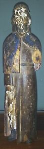 Filipino Colonial Hand Carved Wood Statue Of Bearded Saint 12