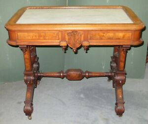 Old Antique Victorian Ornate Carved Walnut Wood Marble Top Table