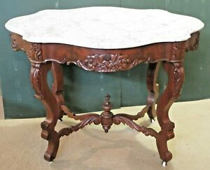 Old Antique Victorian Carved Walnut Ornate Floral Marble Turtle Top Table