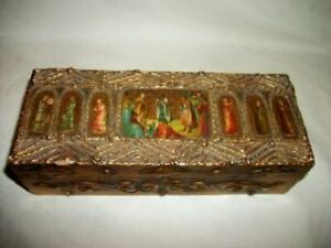 Antique Italian Florentine Box Cathedral Windows Angels 1920 S Gilt Rare
