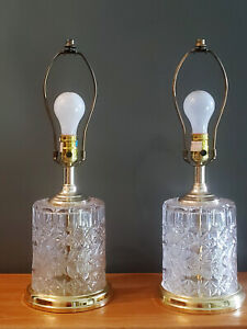Vintage Pair Of Crystal Table Lamps Cut Glass Gold Hollywood Regency