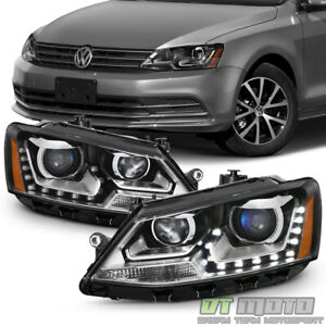 Halogen Model 2011 2018 Vw Jetta Sedan Led U shape Drl Projector Blk Headlights