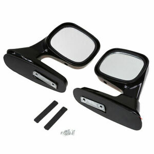 J376 Universal Pair Racing Auto Side View Door Mirror Left Right Side Black