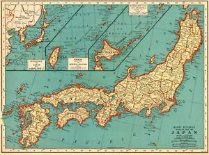 1939 Antique Japan Map Vintage Collectible Map Of Japan Gallery Wall Art 7019