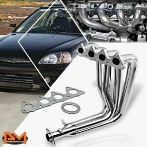 For 99 00 Honda Civic Si Em1 B16a2 Stainless Steel 4 1 Exhaust Header Manifold