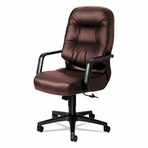 Pillow soft High back Office Chair With Arms Fabric Burgundy Leather