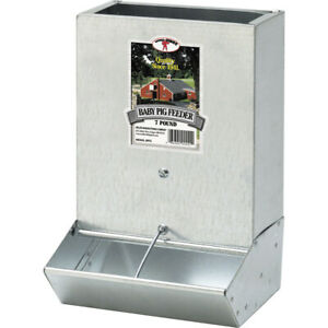 New Miller Steel Little Giant 2 Hole Baby Pig Feeder 7 Pound