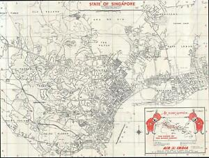 1975 Tien Wah Air India Promotional Map Of Singapore City
