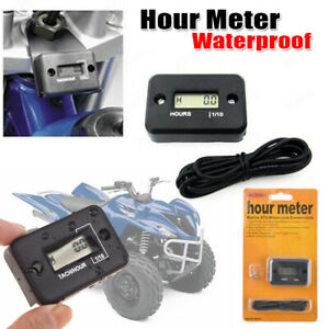 Digital Lcd Hour Meter Tachometer Small Engine Spark For Motorcycle Boat Atv