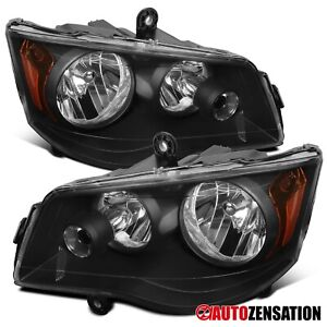 For 2011 2018 Dodge Grand Caravan 08 16 Town Country Black Headlights Lamps