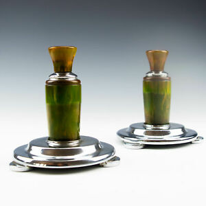 Pair Of Pewter And Phenolic Candlesticks 1930 5