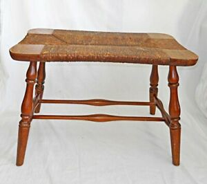 Vintage Stool Rush Seat Bench Country Furniture Primitive Old Surface
