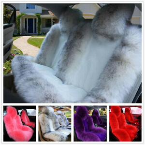 Long Wool Car Seat Cushion Real Fur Sheepskin Cover Winter Soft Warm Chair Pad