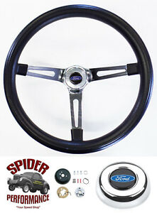 1965 1969 Fairlane Galaxie 500 Steering Wheel Blue Oval 15 Muscle Car Chrome