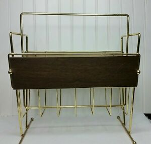 Vintage Mid Century Eames Era Gold Wire Faux Wood Magazine Rack Stand Ball Feet