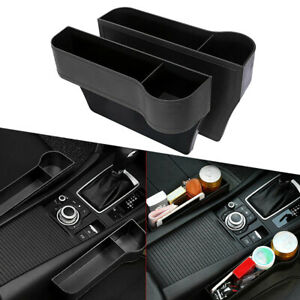 2x Car Seat Gap Catcher Filler Storage Box Pocket Organizer Holder Leather Suv