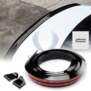 Gloss Black Rear Roof Trunk Spoiler Wing Tail Lip 5ft Universal Look Trim Rubber