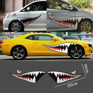 Pair 59 Shark Mouth Tooth Teeth Sticker Vinyl Exterior Decal For Car Side Door