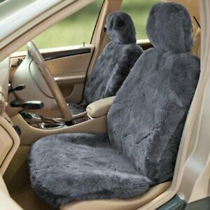 Sheepskin Seat Cover Gray charcoal Universal Fit For Truck Car Suv Automobile