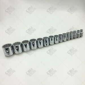 Sk Hand Tools 4122 15pc 1 2 Dr 12pt Standard Fractional Chrome Socket Set