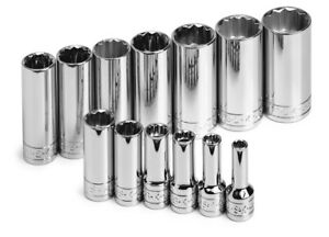 Sk Hand Tools 4453 13pc 3 8 Dr 12pt Deep Fractional Chrome Socket Set