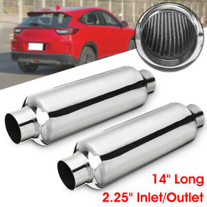 2x 2 25 Inlet outlet Universal Exhaust Pipe Muffler Resonator 14 Overall Us