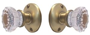 Four Sets Sparkling Glass Door Knobs In Antique Brass For Drilled Interior Doors